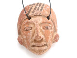 Mayan Carved Clay Mask Pendant (GUA499)