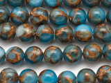 Blue & Bronze Composite Agate Round Gemstone Beads 10mm (GS5054)