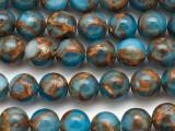 Blue & Bronze Composite Agate Round Gemstone Beads 10mm (GS5054)