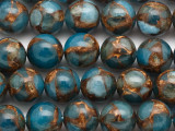 Blue & Bronze Composite Agate Round Gemstone Beads 12mm (GS5055)