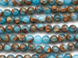 Blue & Bronze Composite Agate Round Gemstone Beads 6mm (GS5056)