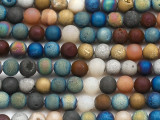 Matte Multi-Color Electroplated Agate Round Gemstone Beads 6mm (GS5057)