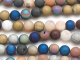 Matte Multi-Color Electroplated Agate Round Gemstone Beads 9mm (GS5068)