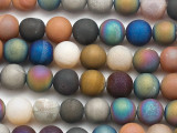 Matte Multi-Color Electroplated Agate Round Gemstone Beads 10mm (GS5071)