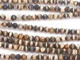 Matte Striped Brown Tibetan Agate Round Gemstone Beads 4mm (GS5083)