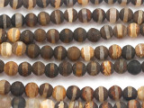Matte Striped Brown Tibetan Agate Round Gemstone Beads 6mm (GS5086)