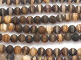Matte Striped Brown Tibetan Agate Round Gemstone Beads 6mm (GS5086)