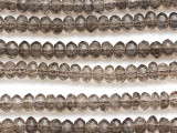 Smoky Quartz Faceted Rondelle Gemstone Beads 6mm (GS5092)