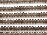 Smoky Quartz Faceted Saucer Gemstone Beads 6mm (GS5097)
