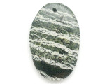 Green Silver Line Jasper Gemstone Pendant 55mm (GSP2948)