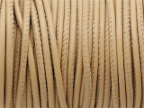 "Cream Tan Stitched Leather Cord 2.5mm - 36"" (LR154)"