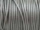 "Metallic Silver Stitched Leather Cord 2.5mm - 36"" (LR156)"
