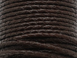 "Dark Brown Braided Leather Cord 3.5mm - 36"" (LR189)"