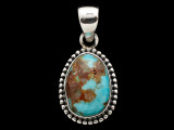 Sterling Silver & Turquoise Pendant 27mm (AP2202)