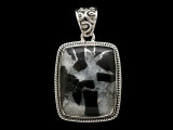 Sterling Silver & Tourmaline Quartz Pendant 31mm (AP2213)