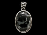 Sterling Silver & Tourmaline Quartz Pendant 34mm (AP2215)