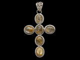 Sterling Silver & Rutilated Quartz Cross Pendant 57mm (AP2229)