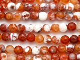 Dark Orange Fire Agate Faceted Round Gemstone Beads 8mm (GS5102)