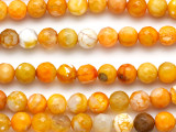 Orange Fire Agate Faceted Round Gemstone Beads 8mm (GS5103)