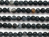 Black Crackle Agate Faceted Round Gemstone Beads 8mm (GS5109)
