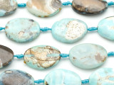 Aqua Agate Oval Tabular Gemstone Beads 35mm (GS5116)