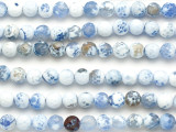 Frosty Blue Fire Agate Faceted Round Gemstone Beads 8mm (GS5120)