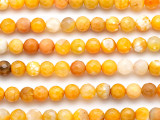 Yellow-Orange Fire Agate Faceted Round Gemstone Beads 8mm (GS5125)