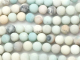 Frosted Matte Black Gold Amazonite Round Gemstone Beads 10mm (GS5143)
