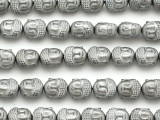 Bright Silver Electroplated Hematite Buddha Gemstone Beads 10mm (GS5144)