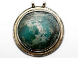Afghan Silver & Ancient Roman Glass Pendant 82mm (AF934)