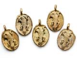 Brass Lizard Medallion Pendant 30mm - Ghana (ME532)