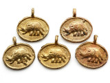 Brass Elephant Medallion Pendant 25mm - Ghana (ME533)
