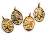 Brass Turtle Medallion Pendant 30mm - Ghana (ME537)