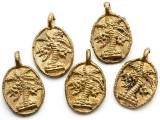 Brass Palm Tree Medallion Pendant 30mm - Ghana (ME541)