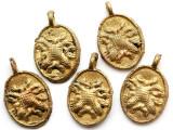 Brass Double Lizard Medallion Pendant 30mm - Ghana (ME542)