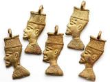 Brass Man Profile Pendant 37mm - Ghana (ME543)