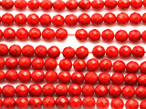 Red Bamboo Coral Faceted Round Beads 7mm (CO577)