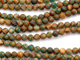 Matte Green & Orange Tibetan Agate Round Gemstone Beads 6mm (GS5160)