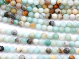 Matte Black Gold Amazonite Faceted Round Gemstone Beads 6mm (GS5163)