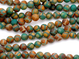 Matte Green & Orange Tibetan Agate Round Gemstone Beads 8mm (GS5185)