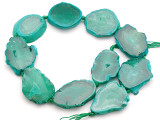 Teal Green Agate Slab Gemstone Beads 34-42mm (AS1047)