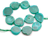 Teal Green Agate Slab Gemstone Beads 32-38mm (AS1051)