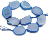 Blue Agate Slab Gemstone Beads 38-46mm (AS1055)