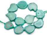 Teal Green Agate Slab Gemstone Beads 32-38mm (AS1058)