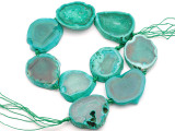 Teal Green Agate Slab Gemstone Beads 40-44mm (AS1060)