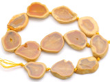 Amber Yellow Agate Slab Gemstone Beads 30-36mm (AS1062)