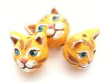 Orange Cat Painted Ceramic Bead 15mm - Peru (CER179)