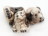 Brown & White Hound Painted Ceramic Bead 21mm - Peru (CER184)