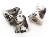 Brown & Gray Hound Painted Ceramic Bead 20mm - Peru (CER187)