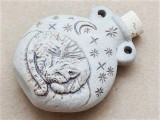 Sleeping Cat Cork Bottle Pendant 45mm (AP2244)
